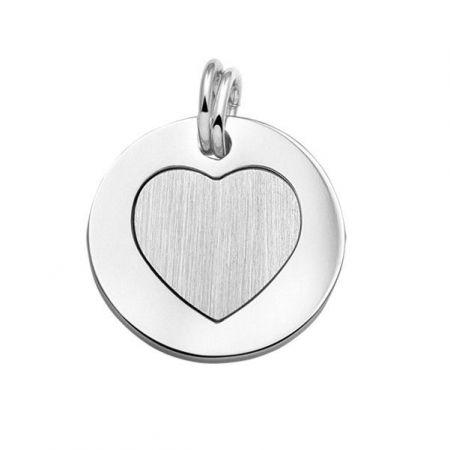 Zilveren Tweedelige graveer Hanger Hart