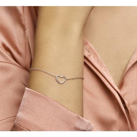 Zilveren armband hart 16 + 3 cm