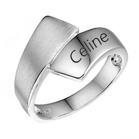 Zilveren naam ring