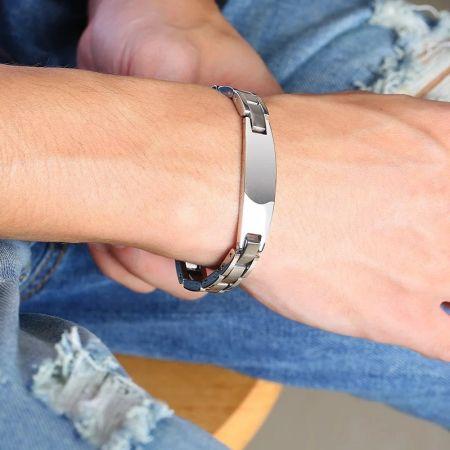 Stalen Armband met Graveerplaat
