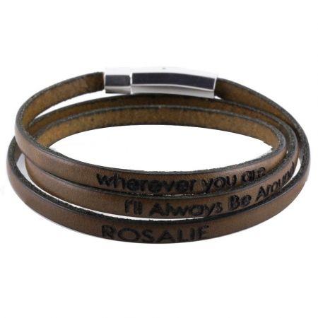 Leren Naam Armband