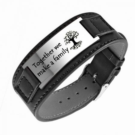 Armband PU leer met graveerplaat