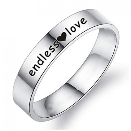 Zilveren ring met eigen naam of tekst 5mm