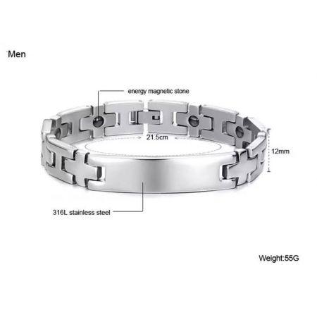 Stalen armband met graveerplaat 21 cm x 10 mm