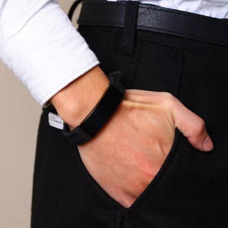 Rubberen armband met graveerplaat 23 cm x 15mm