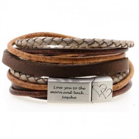 Leren Wikkel armband met Gravure