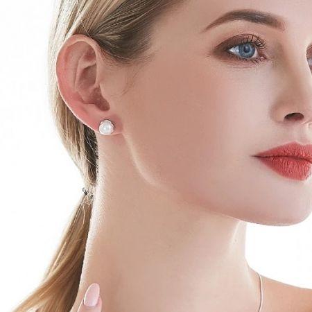 Zilveren oorknoppen met parel