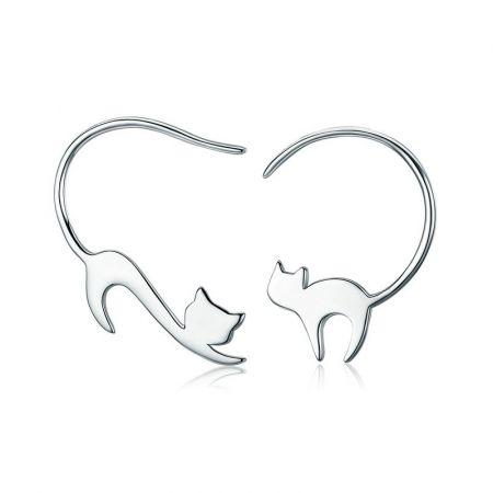 Zilveren oorhangers 'katje'