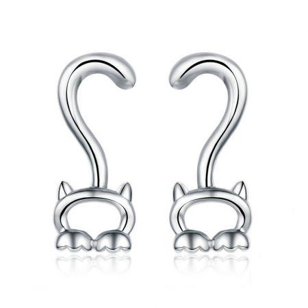 Zilveren oorstekers 'katje'