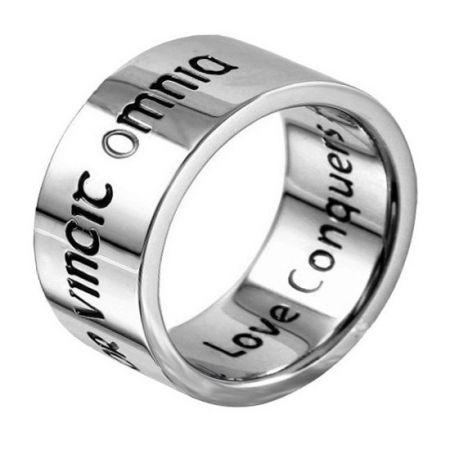 Brede zilveren ring met eigen naam of tekst - 9,5 mm